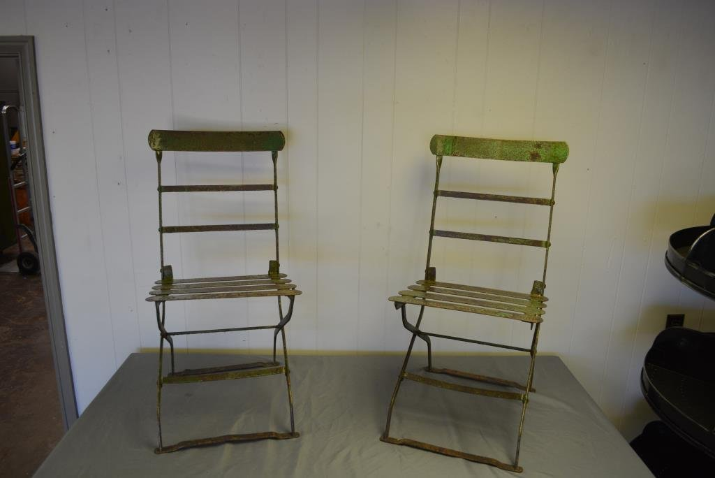 Painted French Metal Folding Bistro Chairs X2