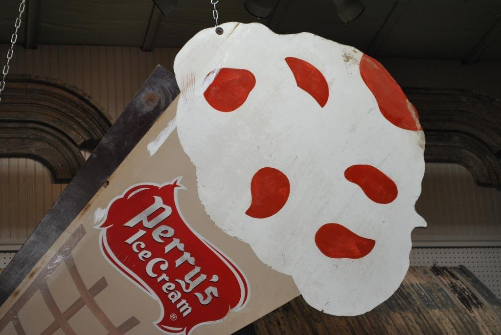 """Perry's Ice Cream Sign wooden 98 1/2"""" x  46 1/2"""" - 2"""