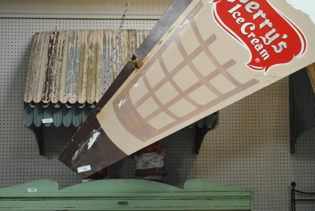 """Perry's Ice Cream Sign wooden 98 1/2"""" x  46 1/2"""" - 4"""