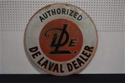 """DeLaval Sign double sided, metal 30"""" round"""