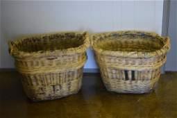 "French Champagne Grape Gathering Basket X2 25 1/2""H,"