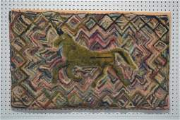 "19th C. Pa. Folk Art Horse Hooked Rug 24"" x 39"""