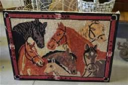 Mounted Horse Hooked Rug