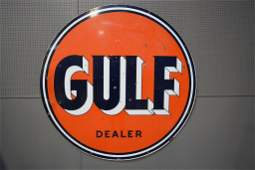 """GULF Dealer Sign porcelain, double sided 66"""" round"""