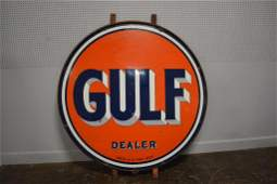 """GULF Dealer Sign porcelain, double sided 72 3/4"""" x"""