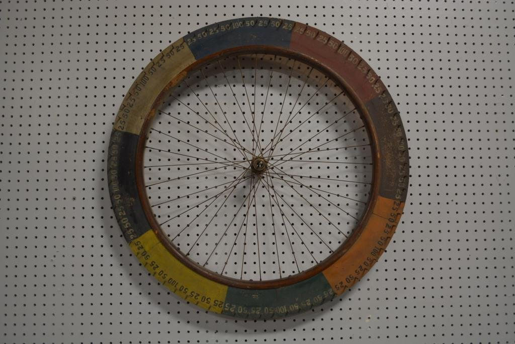 """Folky Painted Game Wheel 31"""" round"""