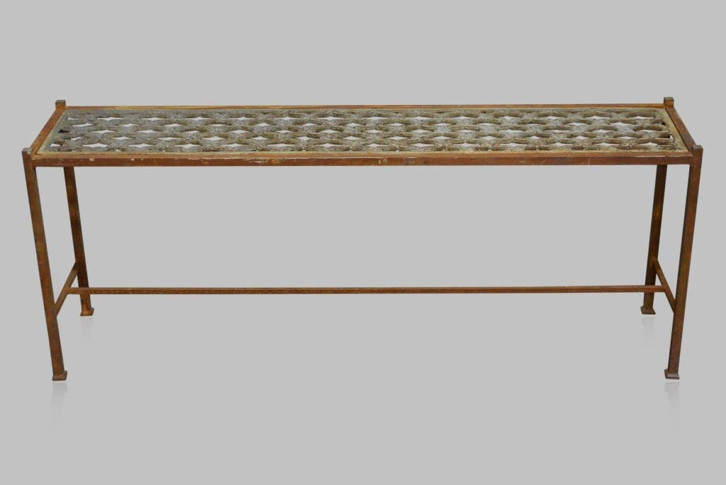 """Architectural Iron Bench 22""""H,  53 3/4""""L,  12 1/2""""W"""
