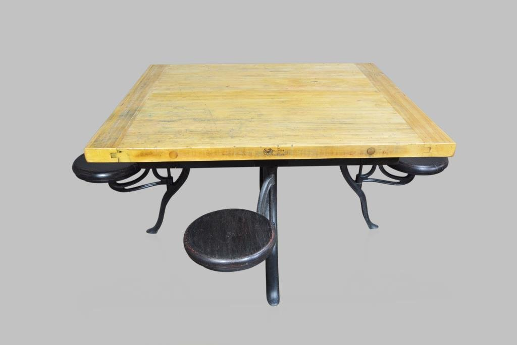 """Industrial Work Table w/ Swing-out stools 31 1/2""""H,  54"""