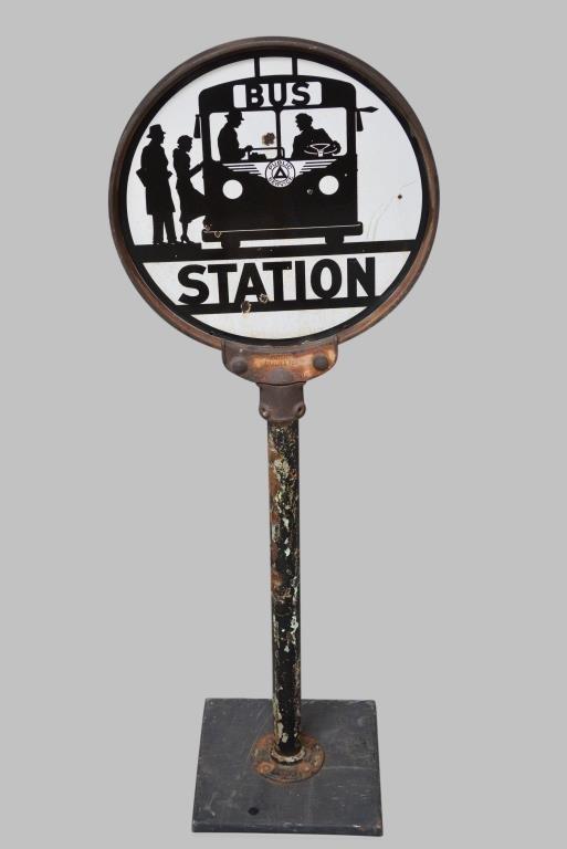 "Lollipop "" Bus Station "" Sign porcelain, double sided"