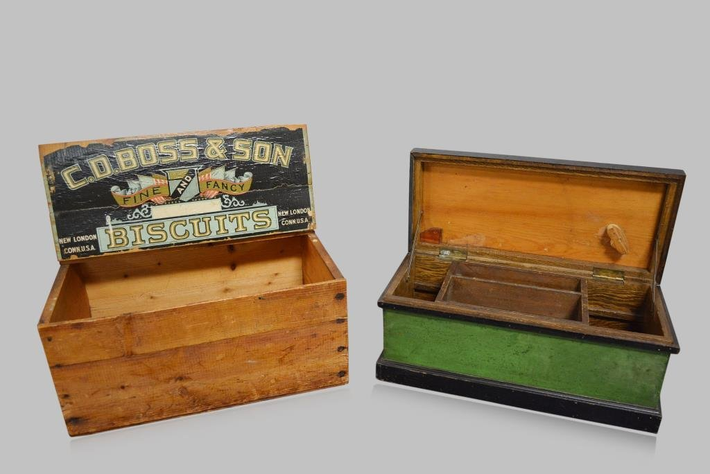 """2pc. Lot painted toolbox, biscuit box 9""""H,  22""""  x"""