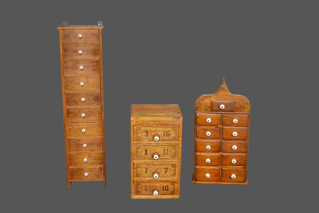 3- Piece Lot: Early Spice/Drawer Unit *Jean Hess