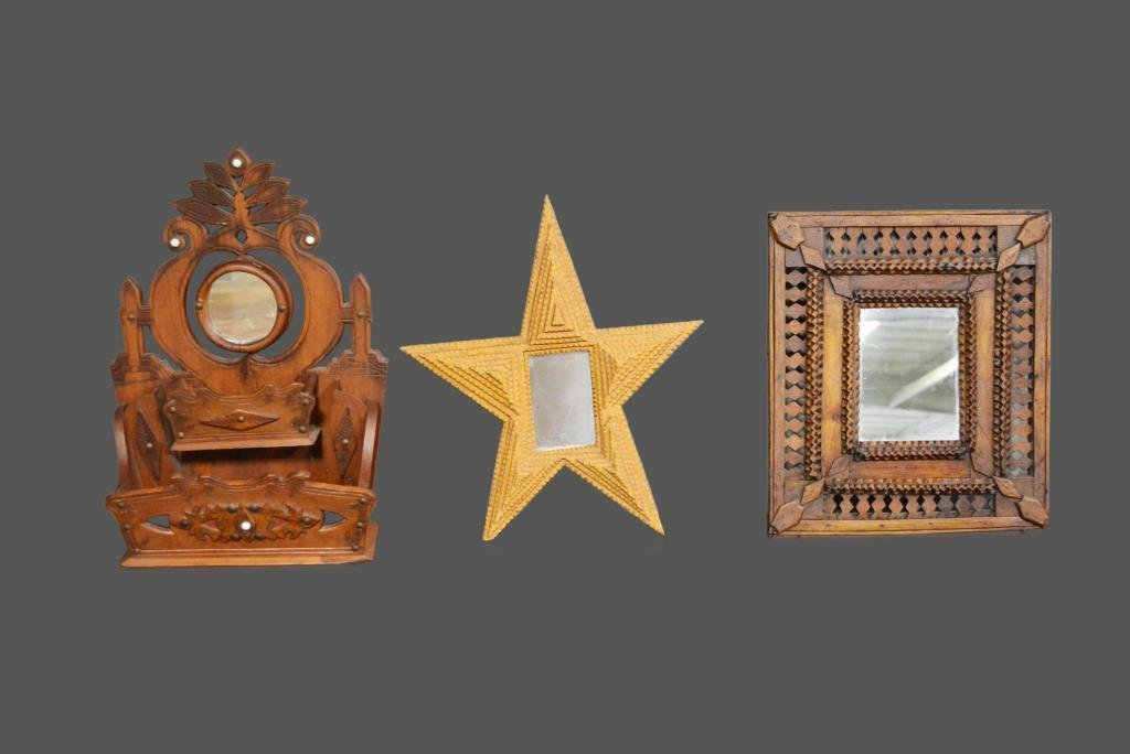 3-Piece Lot: Folk Art & Tramp Art Tramp Art Star