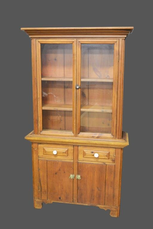 Early 2-Piece Texas Pine Cupboard *Jean Hess Collection