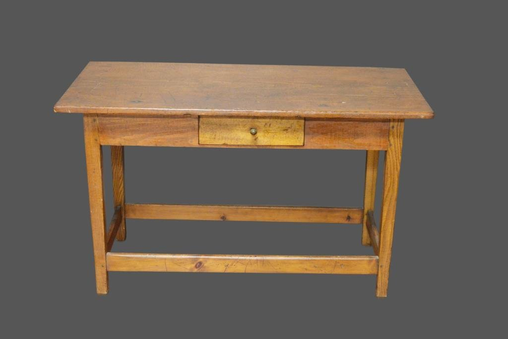 Early Stretcher Base Work Table w/ Drawer *Jean Hess