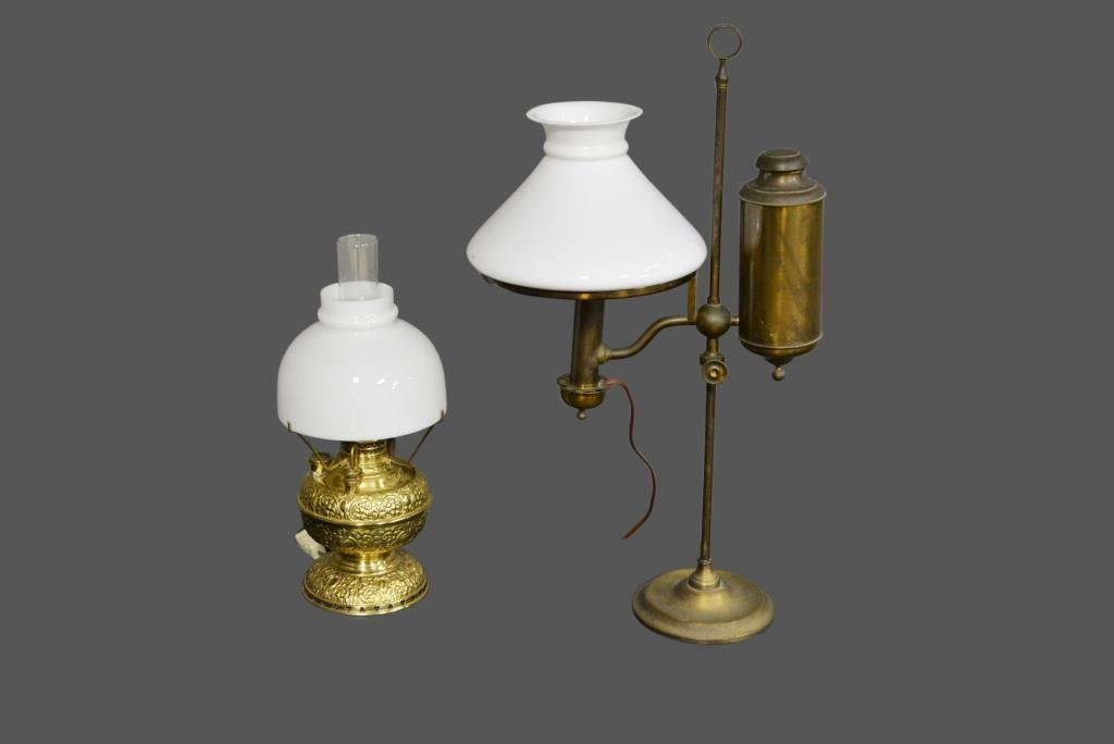 2-Piece Early Student Lamp Lot *Jean Hess Collection 21
