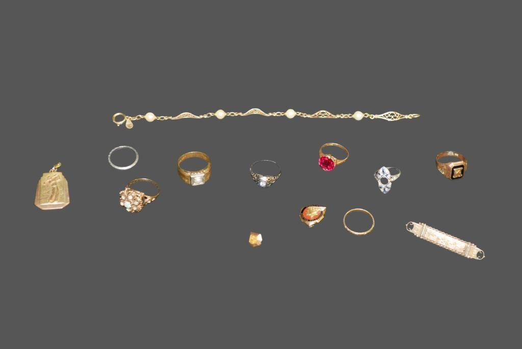 13pc. Lot of Assorted Jewelry Gold Filled,  Platinum,