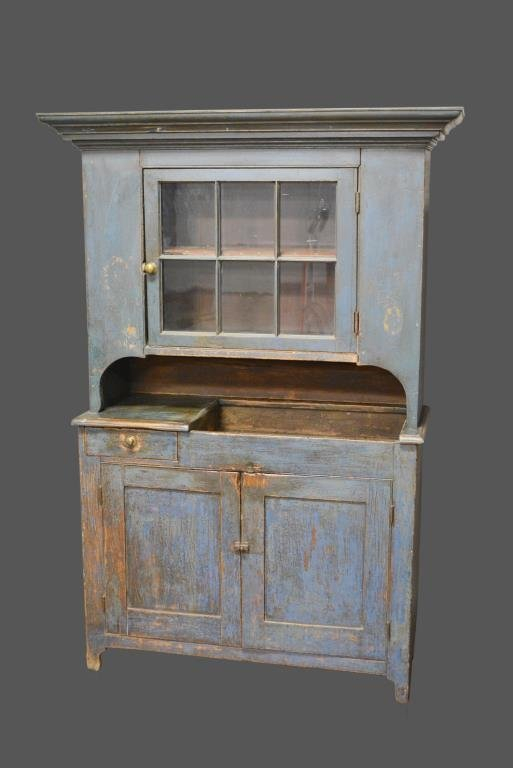 Early Mid-19th Cen. 2-Piece Pa. Dry Sink Cupboard in