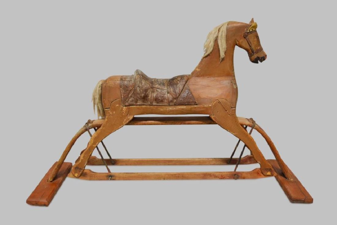 "Folk Art Child's Rocking Horse 30 1/2""H, 48 3/4""L,"