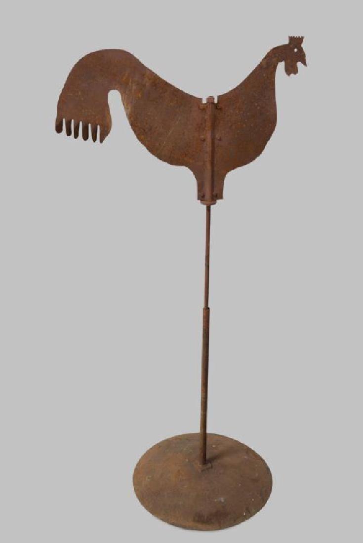 "Folk Art Iron Rooster Weathervane 61 1/2""H, 30"