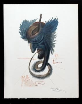 Salvador Dali - The Black Cherub, Hand Signed, from