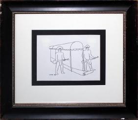 Mark Kostabi original drawing