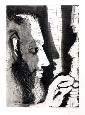 Pablo Picasso Sculpteur Travaillant a un Buste de Femme