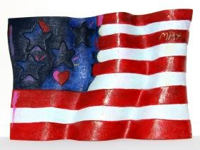 American Flag Bronze Sculpture by Peter Max