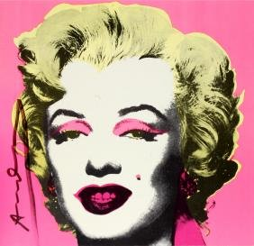Painted Marilyn Signed Invitation by Andy Warhol