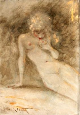 Louis Icart - Coquette Unique Oil Painting