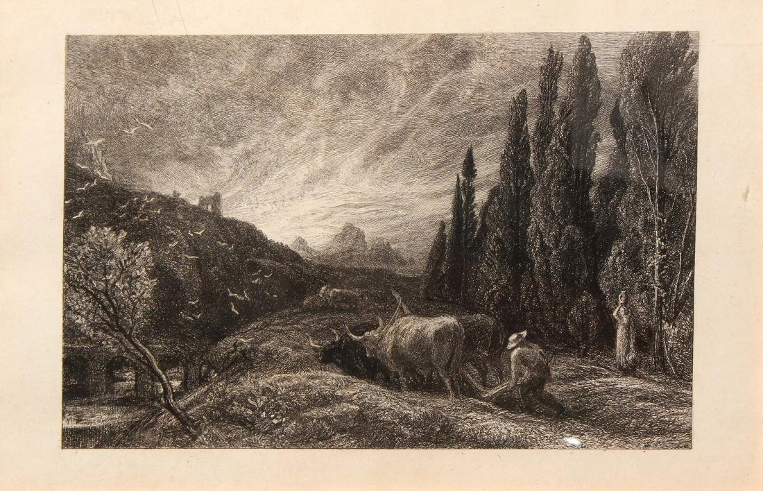 """Samuel Palmer - The Early Ploughman from """"Etching &"""