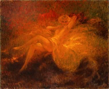 "Louis Icart - ""White Underwear"" Monumental Oil Painting"