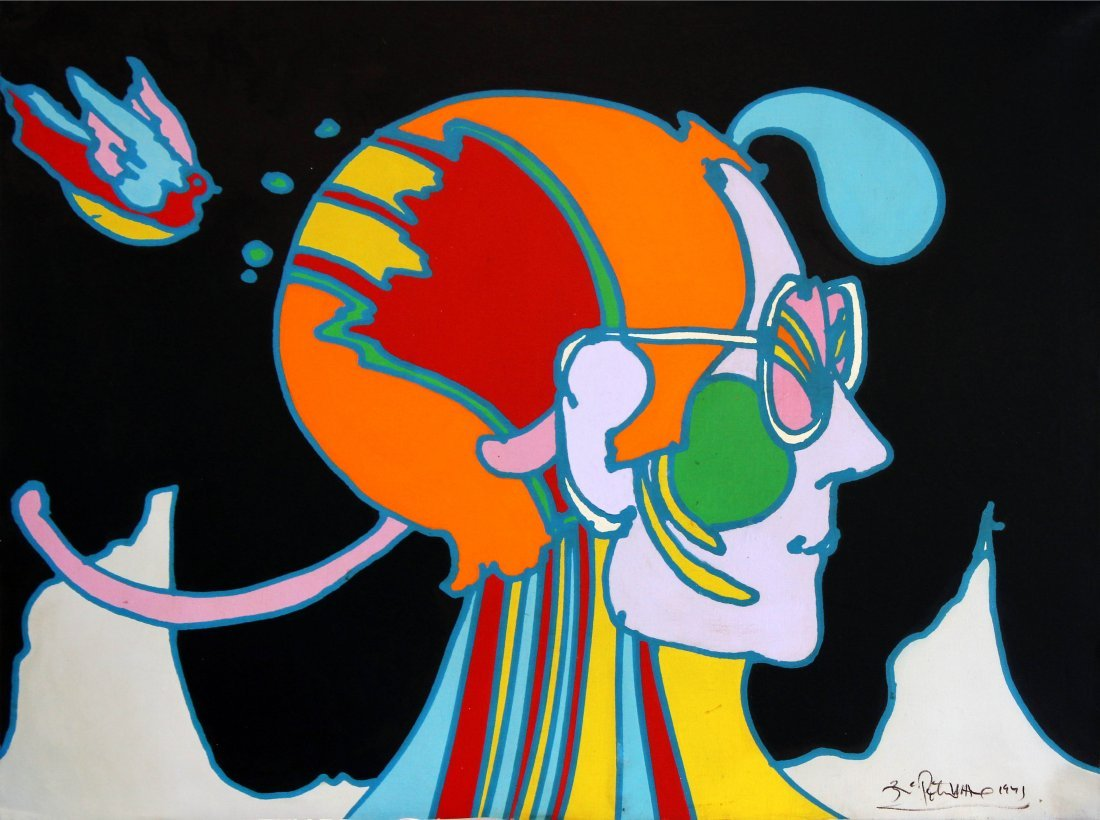 Peter Max - Untitled (Cosmic Profile) Original Painting
