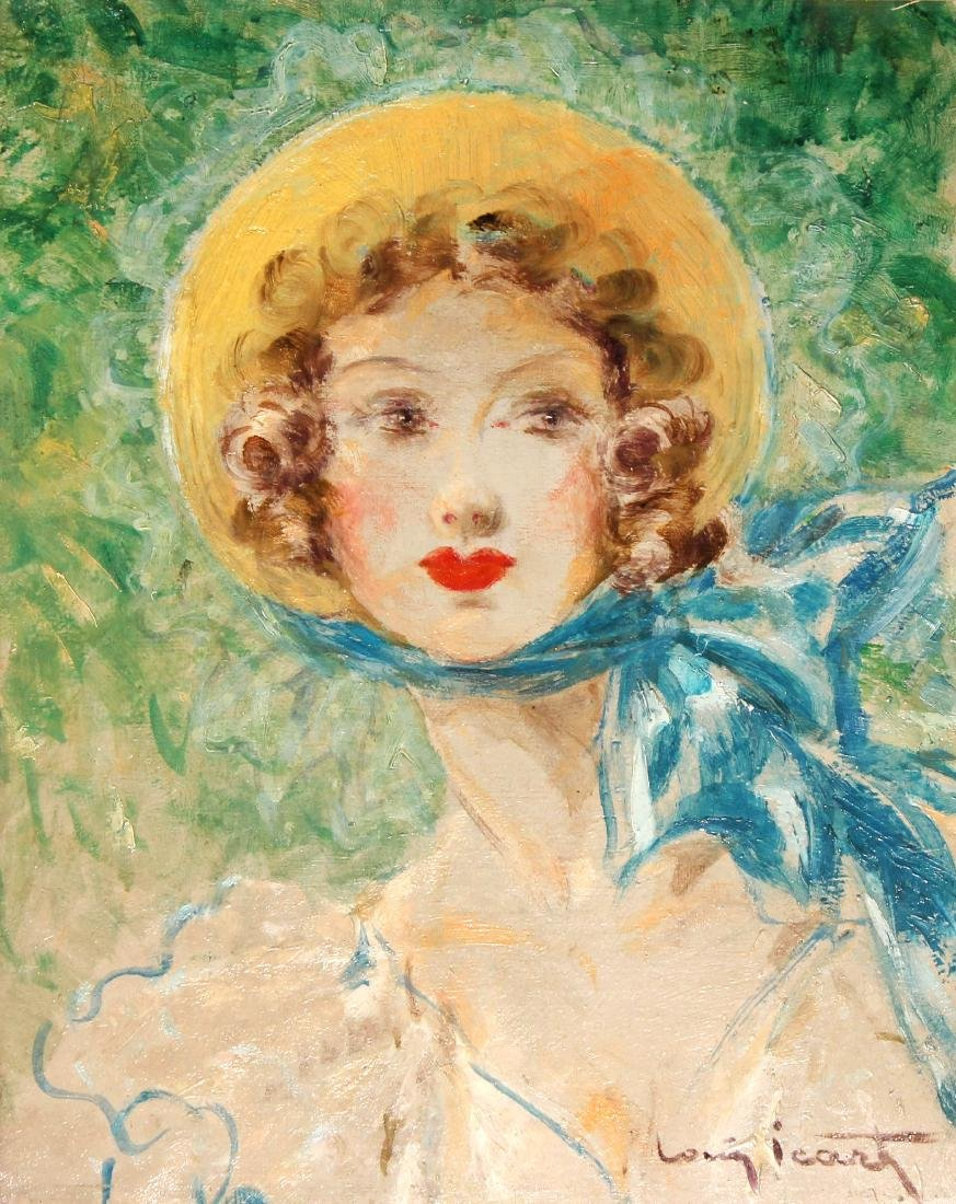 Louis Icart - Girl in Bonnet