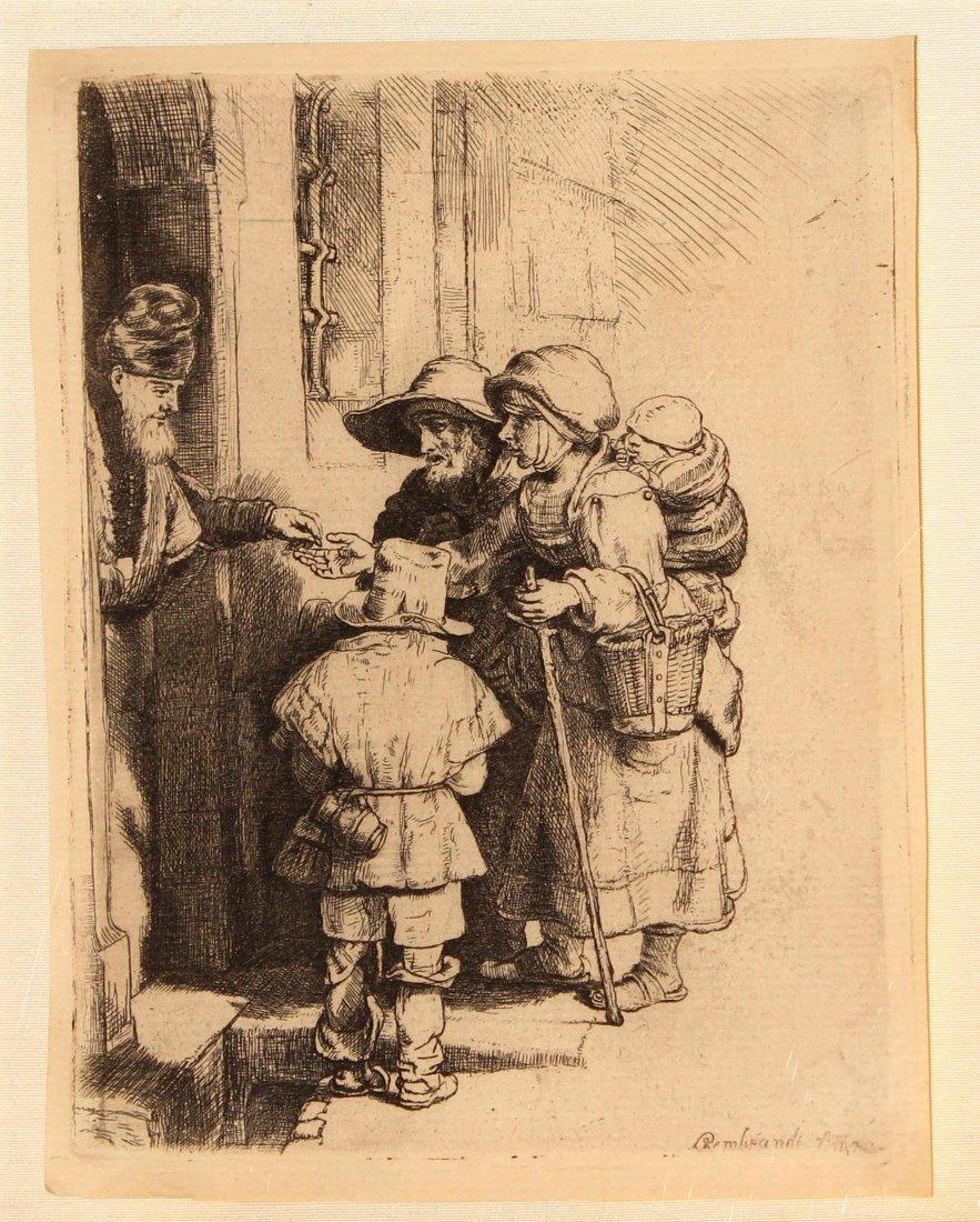 Rembrandt van Rijn - Beggars Receiving Alms at the Door