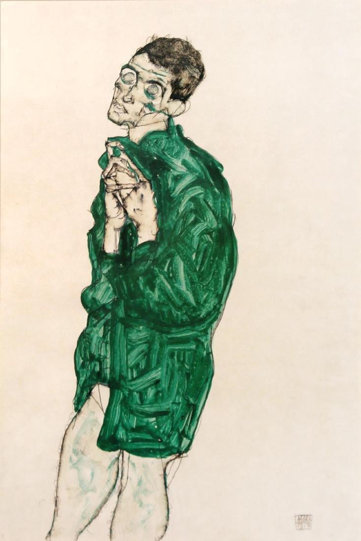Egon Schiele - Selbstdarstellung in Grunem Hemd mit