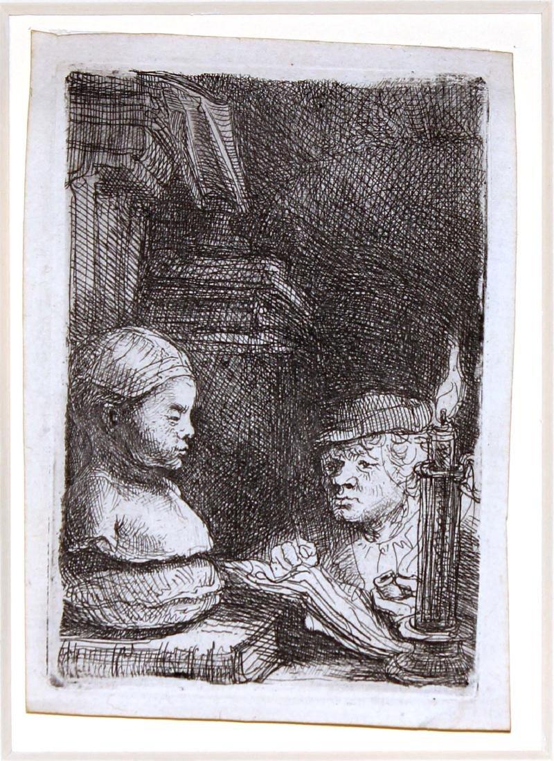 Rembrandt van Rijn - Man Drawing from a Cast