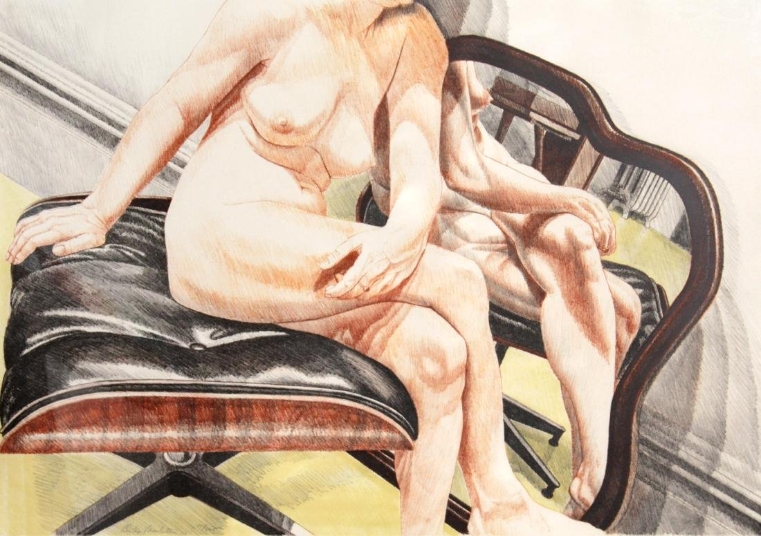 Philip Pearlstein - Female Nude Seated on Eames Ottoman