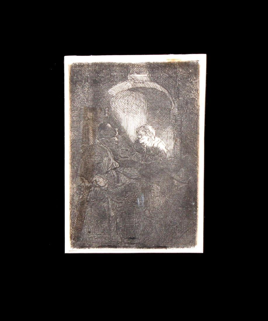 Rembrandt van Rijn - Woman at a Door Hatch Talking to a