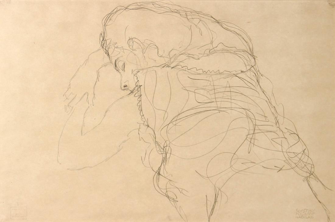 Gustav Klimt - Auf Dem Bauch Liegender Halbakt