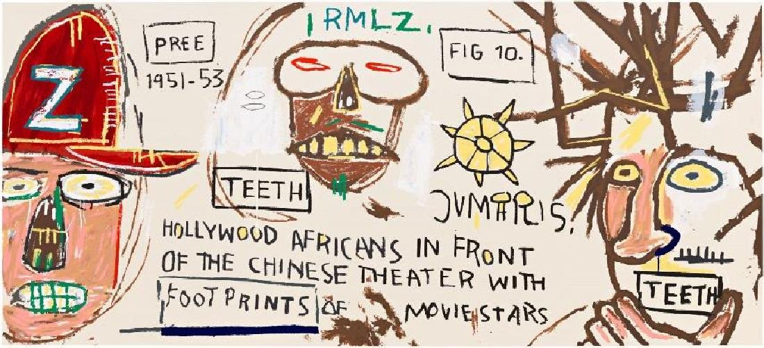 Jean-Michel Basquiat - Hollywood Africans in front of t