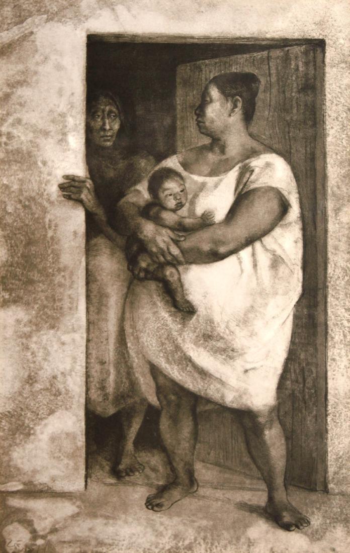 Francisco Zuniga - Mujeres con nino en la puerta