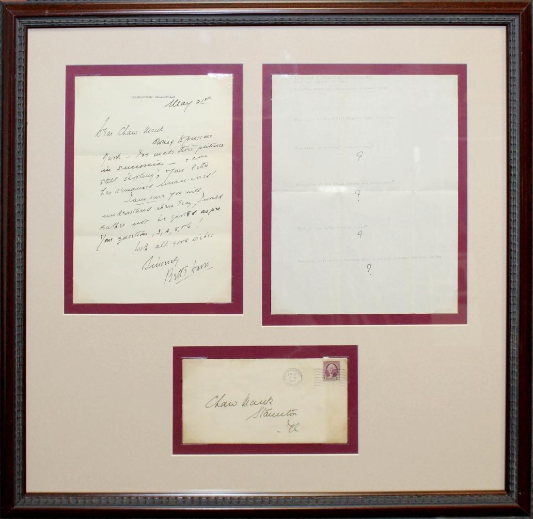 Bette Davis - 1937 Signed Letter and Envelope