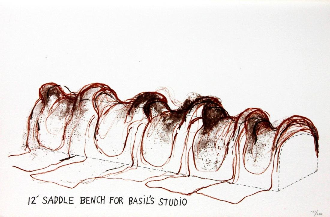 Jim Dine - 12' Saddle Bench for Basil's Studio