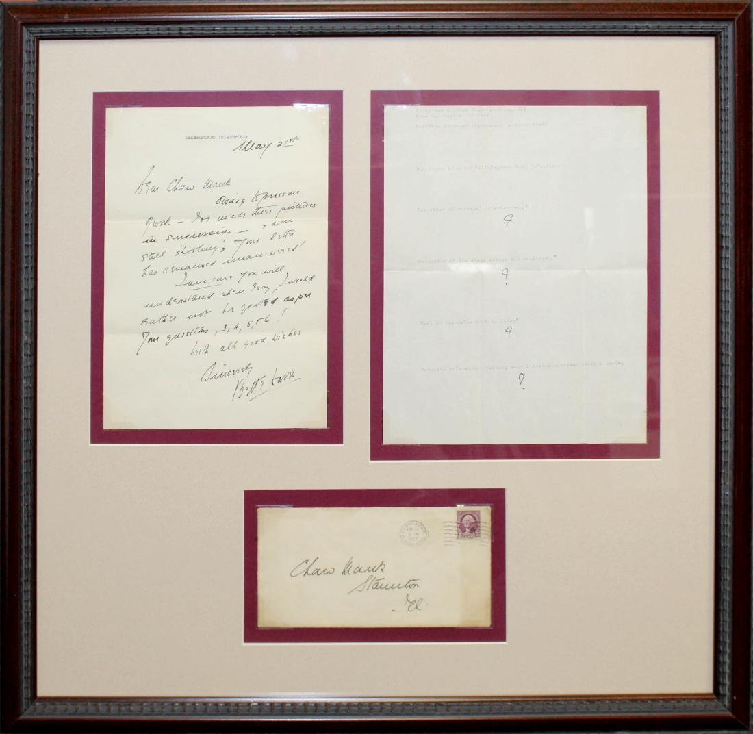 Bette Davis - 1937 Signed Letter and Envelope