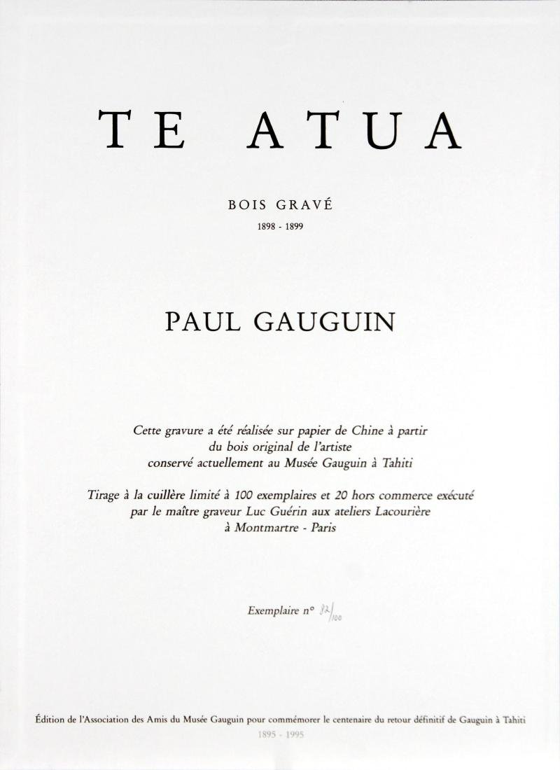 Te Atua Gauguin Woodcut in Original Canvas Porfolio by - 2