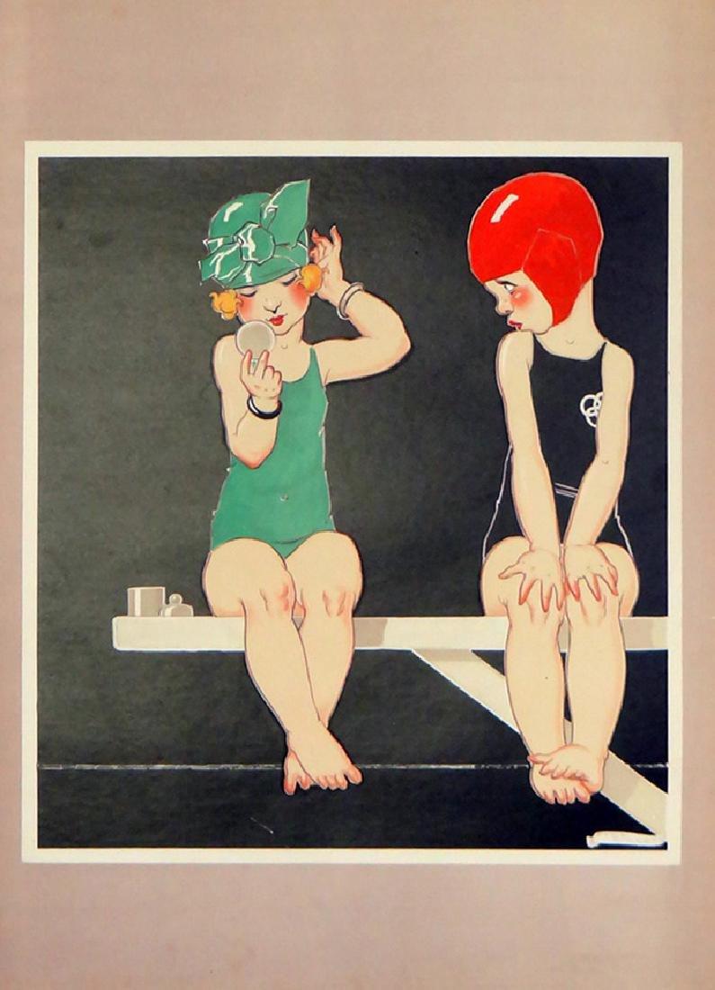 """Rene Vincent """"Children on Diving Board"""""""