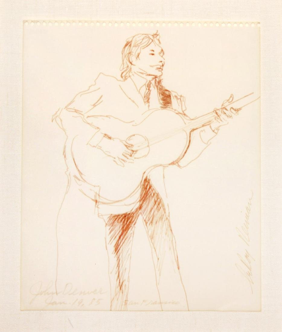 LeRoy Nieman - Original Drawing of John Denver