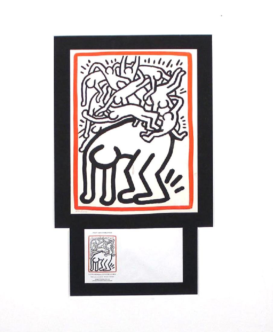 """Keith Haring """"Fight Aids Worldwide"""" 1990 UN Stamp"""