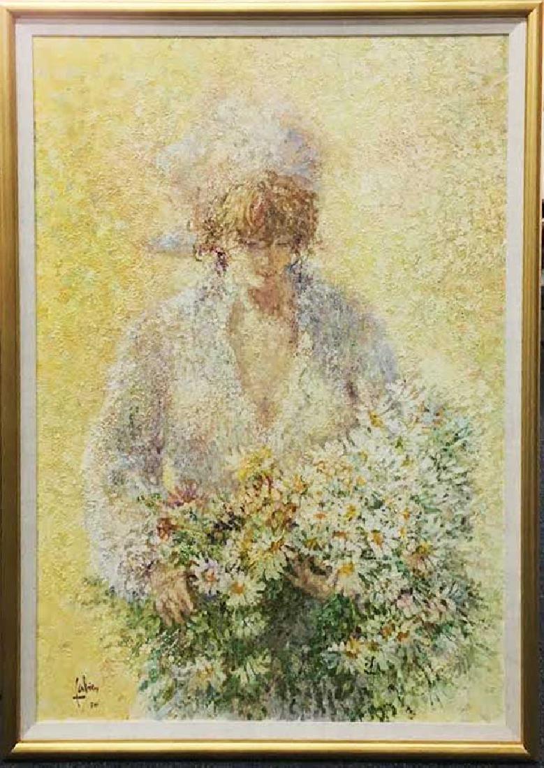 "Louis Fabien Original Oil ""Untitled (Woman w/ Bouquet)"