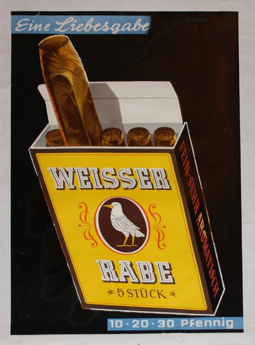 Hugo Laubi, Vintage Weisser Rabe Cigars poster